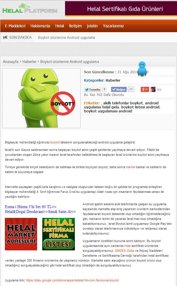 helal platform android israil boykot uygulaması haberi